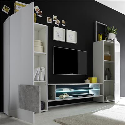 ensemble meubles tv blanc et noir laque brillant eros 3