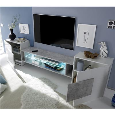 meuble tv blanc et noir laque brillant eros 3
