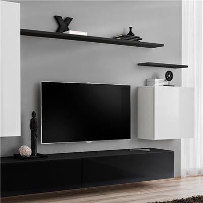 meuble tele suspendu blanc et noir soledad