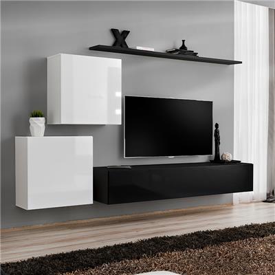 meuble tv suspendu blanc et noir alceo
