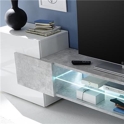 meuble tv design blanc laque brillant et effet beton eros