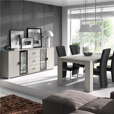 salle a manger avec eclairage contemporaine couleur chene gris sophie
