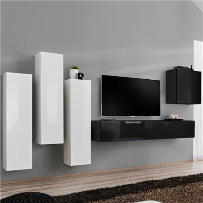 meuble tele suspendu blanc et noir lorenzo