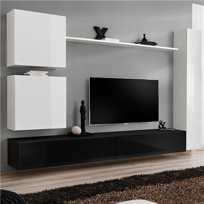 meuble tele suspendu blanc et noir lissandro