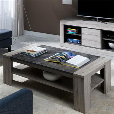 table de salon contemporaine 130 cm couleur bois gris duncan