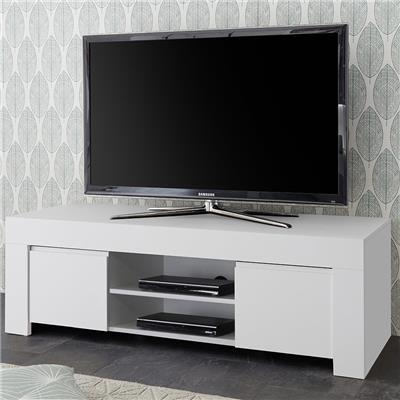 banc tv design blanc laque agathe