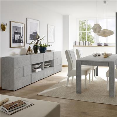 salle a manger grise effet beton design dominos 4