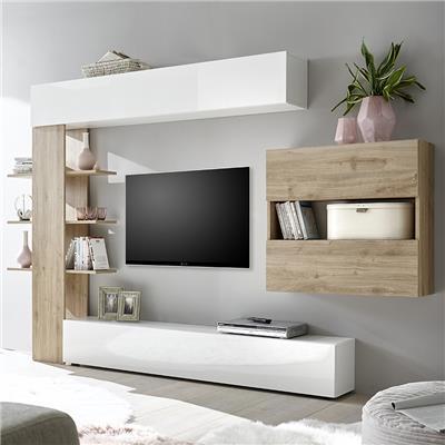 ensemble meubles tv blanc et chene soprano 3