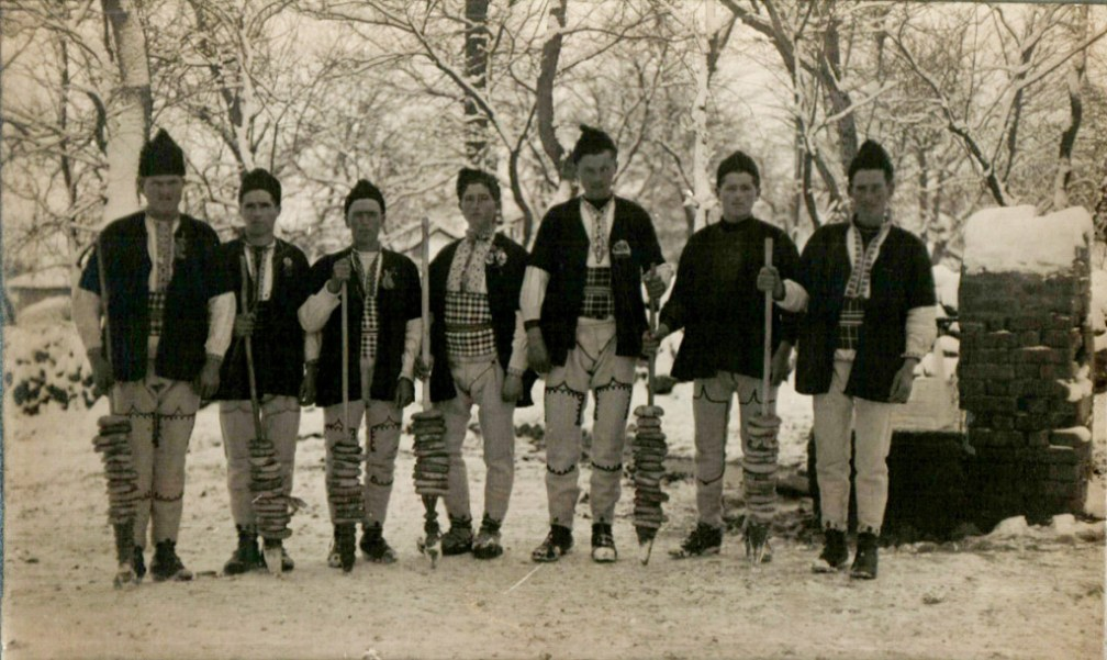 A group of survakari from the region of Sofia on their way to delivering a traditional beating.