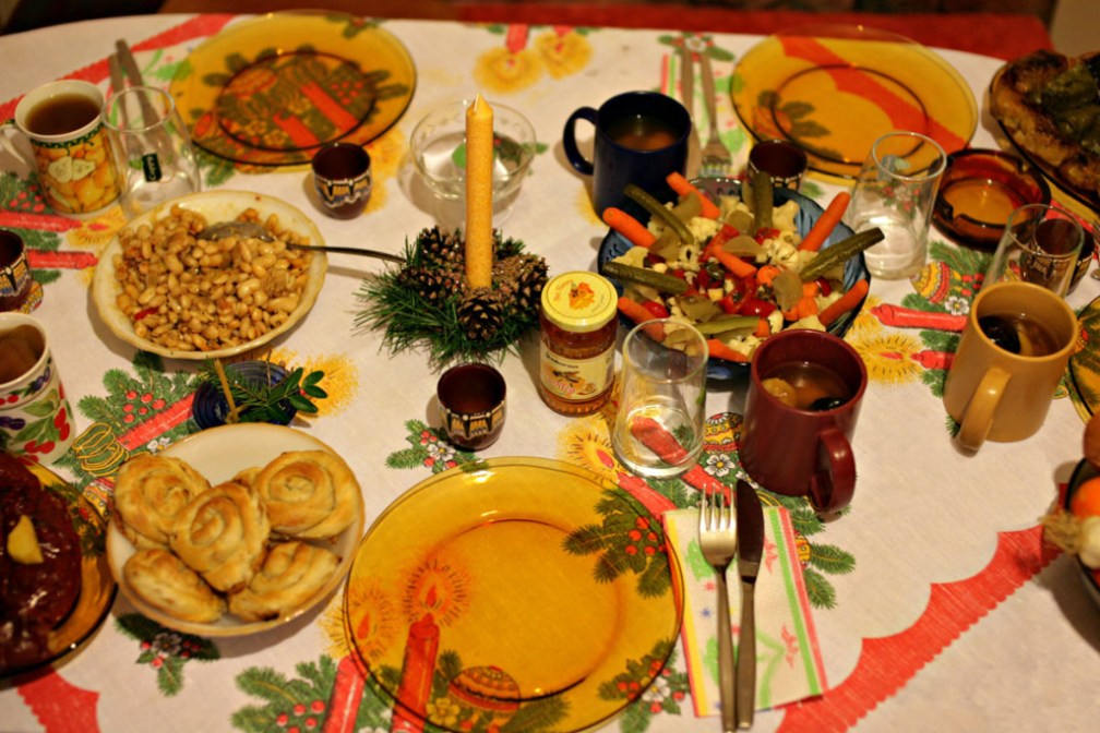 A classic Bulgarian Christmas Eve selection of dishes.