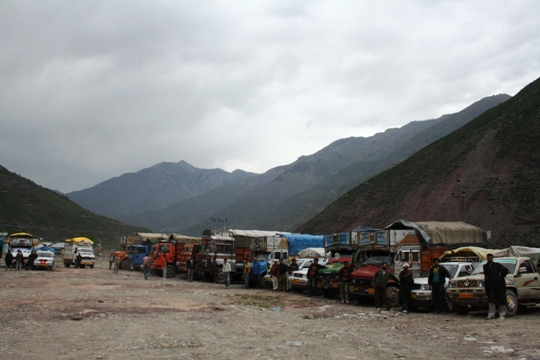 Loaded Trucks near LoC                    Photo: Bilal Bahadur
