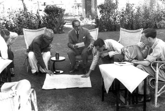 Photographs taken by legendary French photographer Henri Cartier-Bresson (1908-2004) in 1948 shows Sheikh Mohammad Abdullah, who headed the emergency administration in J&K after 1947, discussing issue regarding the ceasefire line with the members of United National Commission for India and Pakistan (UNCIP).