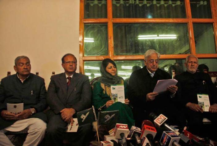 PDP Patron Mufti Muhammad Sayeed addressing a press conference in Srinagar. (Pic: Bilal Bahadur)