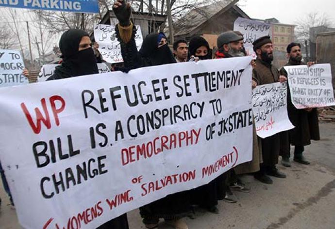 A faction of Hurriyat Conference holding a protest demonstration against WP refugees in Srinagar. Pic: Bilal Bahadur
