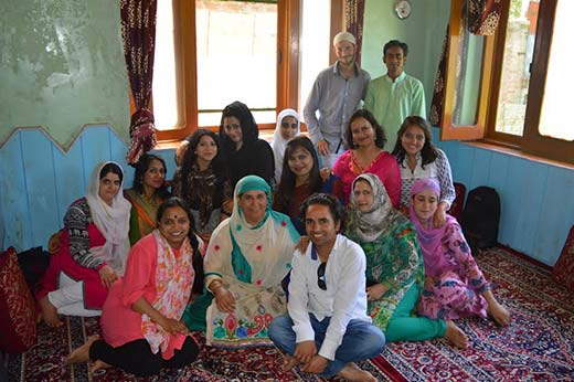 Author alongwith other South Asian and native students at one of their friends' home in North Kashmir's Sopore in summer this year.