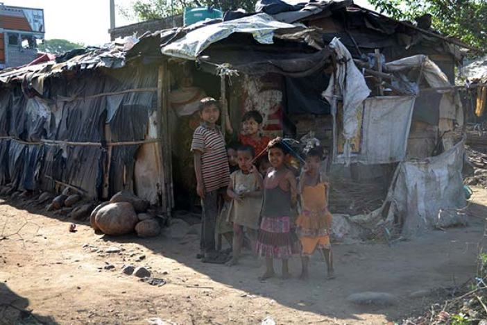 The makeshift tents housing displaced Rohingya Muslims in winter capital.