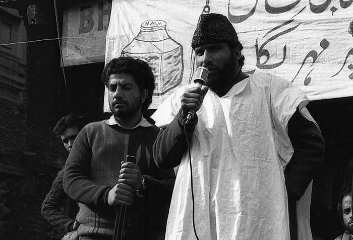 Mohammad Yousuf Shah, MUF candidate for Amira Kadal constituency, during an election rally in 1987. Photo in Special Arrangement with: Merajuddin