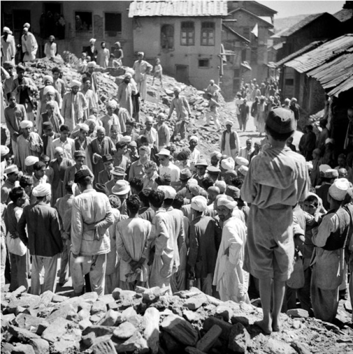 Members of United Nations Commission for India and Pakistan visiting the ruined Baramulla town after the October 1947. This UN photo was taken on January 1, 1948