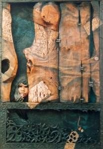 3. A peep out of the Past, Massod H ,, wood,paper pulp, cloth, acrylic and oil, 94 x 138 cm, 1995
