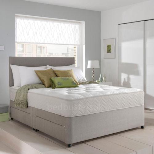 Memory Foam Suede Divan Bed Set With Mattress Amp Headboard