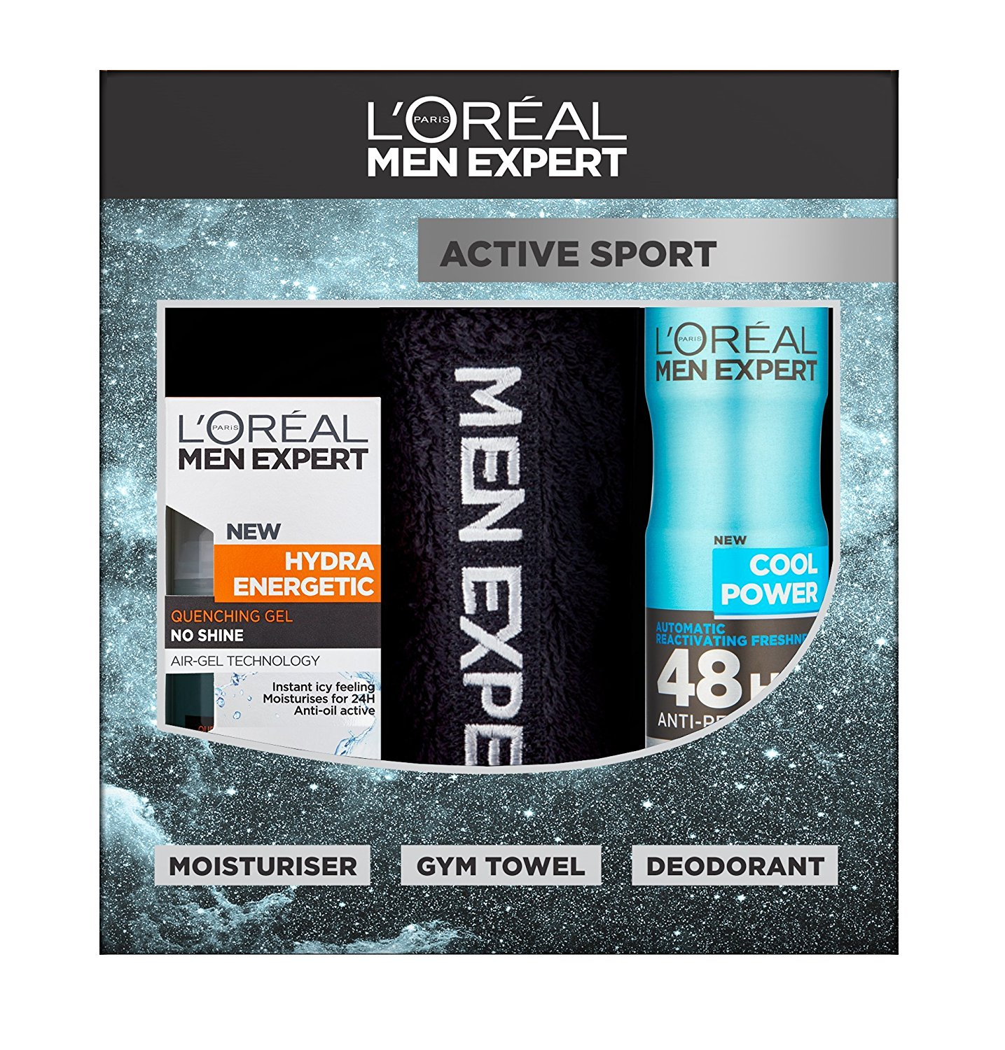 L Oreal Men Expert Active Sport 3 Piece T Set Hydra Energetic Moisturiser Mini Towel And