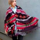 poncho pattern mix ootd outfit style fashion tribal