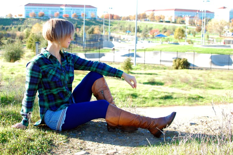 plaid shorts tights boots ootd whatiwore2day navy brown green