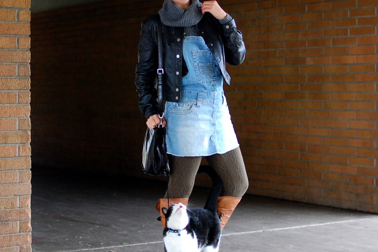 overall dress denim jumper pinafore cowl neck sweater gray olive ootd whatiwore2day outfit