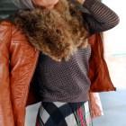 vintage fur collar pleather jacket ootd outfit