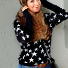 star print fur collar black brown white ootd
