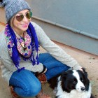 style pompom beanie scarf floral outfit border collie thrift