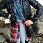 plaid flannel tunic denim vest faux leather jacket outfit whatiwore2day