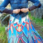 denim jacket maxi skirt outfit ootd whatiwore2day