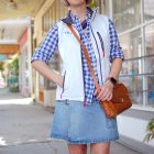 tourist white vest gingham denim skirt ootd whatiwore2day locke california