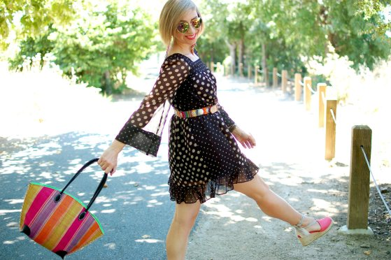 polkadot stripe dress pattern mix daily outfit blog ootd whatiwore2day