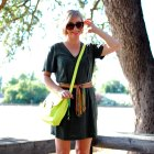 toastmasters scarf belt neon satchel daily outfit blog ootd whatiwore2day