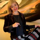 velvet blazer feather necklace plaid skirt daily outfit blog ootd whatiwore2day