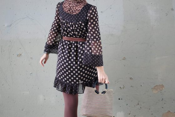 polkadots leopard pattern mix black and brown daily outfit blog ootd whatiwore2day