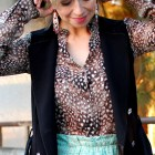 feather print silk blouse fox beaded earrings daily outfit blog ootd whatiwore2day