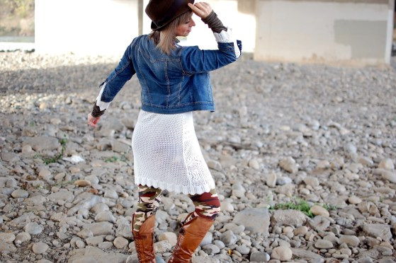 white crochet dress denim jacket daily outfit blog whatiwore2day ootd