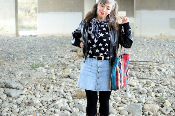 button front denim skirt star sweater bandana ootd whatiwore2day daily outfit blog