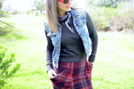 denim vest plaid skirt neckerchief over 40 daily outfit blog ootd whatiwore2day casual friday