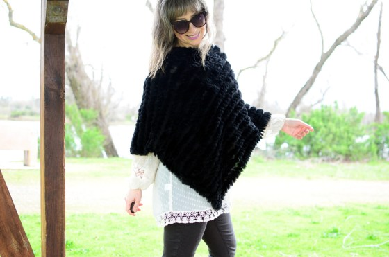 over 40 daily outfit blog furry poncho sheer blouse ootd casual friday whatiwore2day