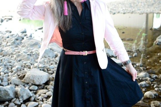 over 40 daily outfit blog blush blazer black shirt dress pink tassel earrings ootd whatiwore2day business casual