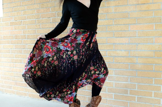 over 40 daily outfit blog tango boho skirt wrap ballet sweater ootd whatiwore2day