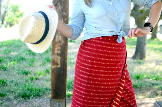 over 40 daily outfit blog thai silk wrap skirt paper hat ootd whatiwore2day