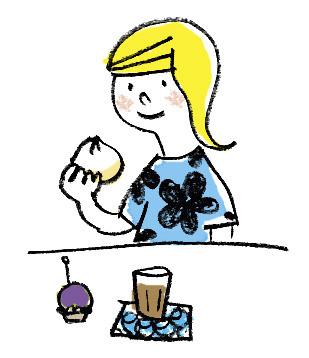墨田区内で地域情報センターとしても機能していた「枕橋茶屋」店内ディスプレイ用イラストです。牛すじまん、牛すじカレーが看板商品でした。 手書き/Photoshop彩色 illustrator : カトウキョーコ