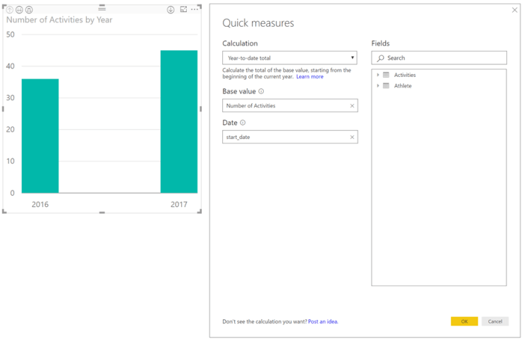 Use the Power BI quick calcs with your own date table