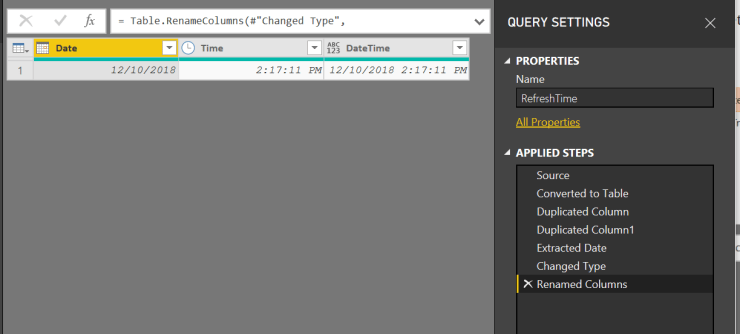 Show the refresh datetime in a Power BI report and dashboard