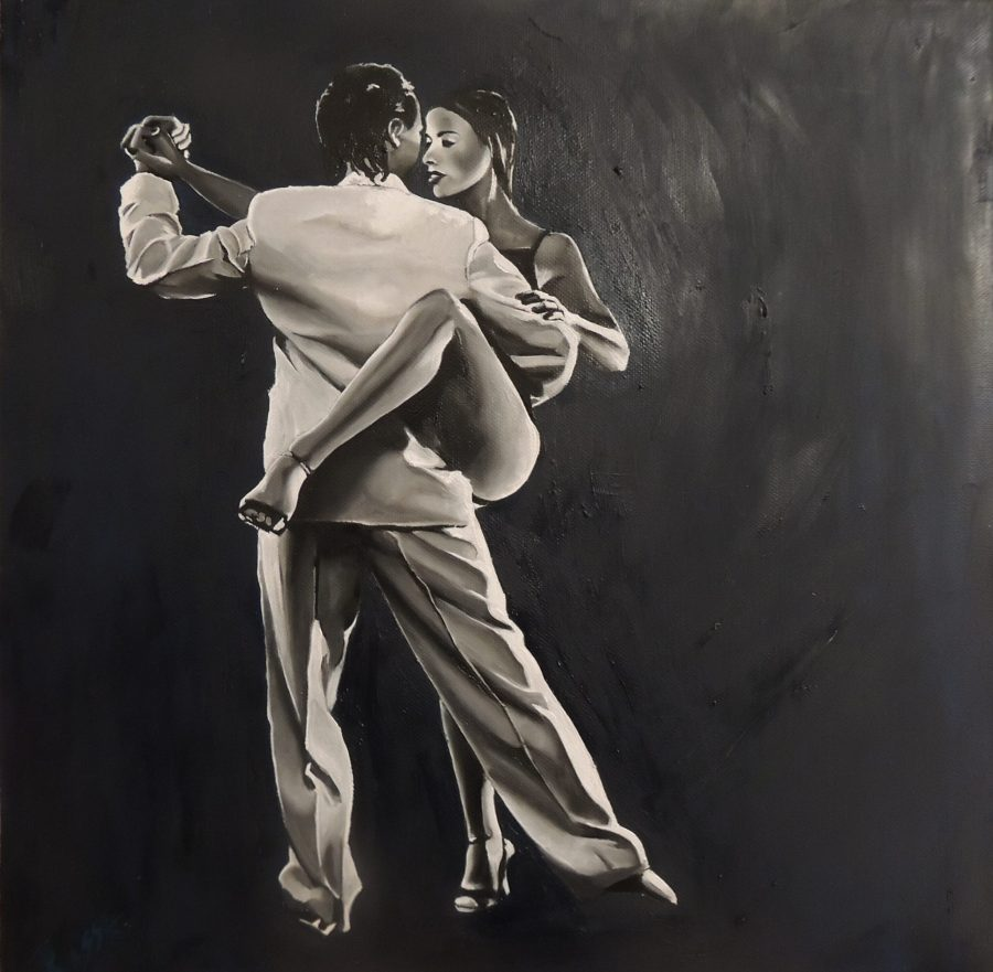 Pareja de tango al óleo